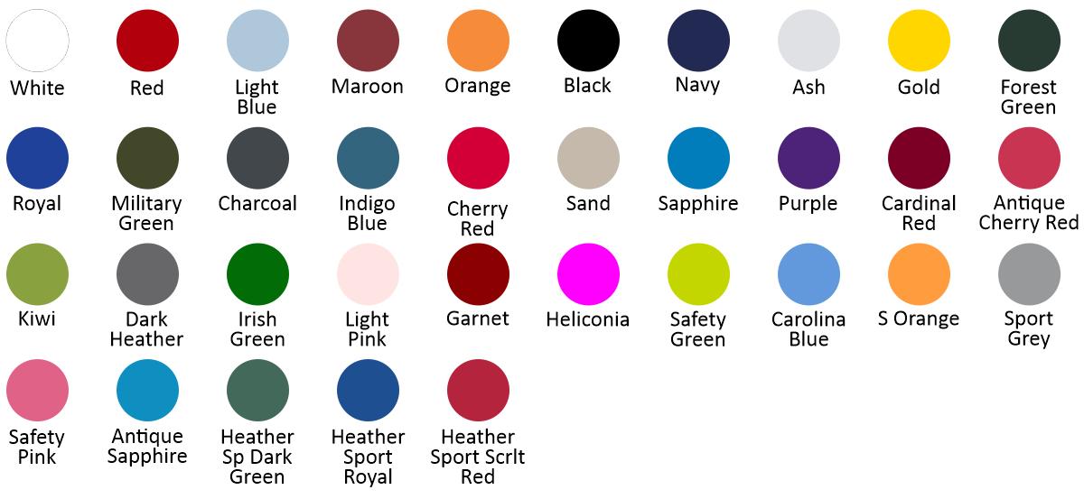 G185 | DTG color chart